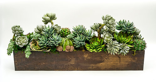 "3518 SUCCULENT/CACTUS MIX IN RUSTIC 24"" RECTANGLE"