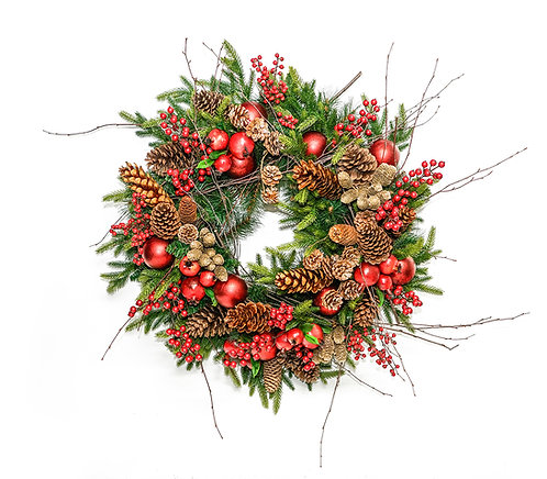"""2908 30"""" POMMEGRANATE AND PINECONE WREATH"""