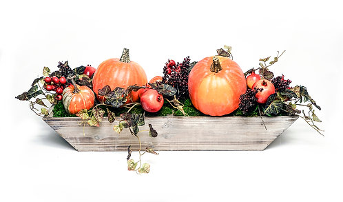 2894 WOOD TROUGH WITH PUMPKINS AND POMMEGRANATES