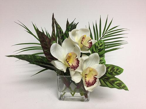 "2961 Cymbidium/Palm Leaves in 4"" Sq. Glass 10""x16"""