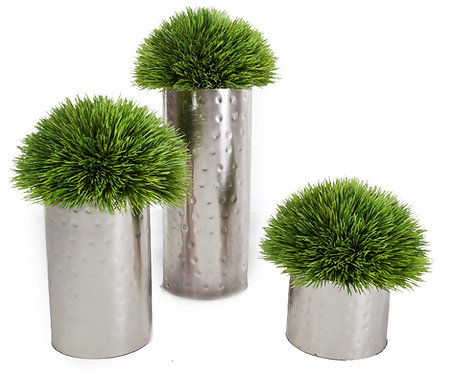 """2422 Set of 3 Grass in Silver Lg 14"""" Md 11"""" Sm 7"""""""
