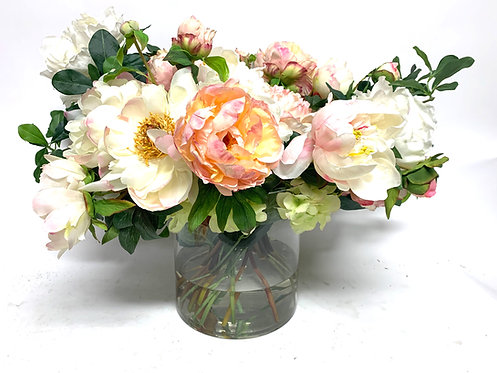 """3356 PEONY FLORAL IN 8"""" CYLINDER"""