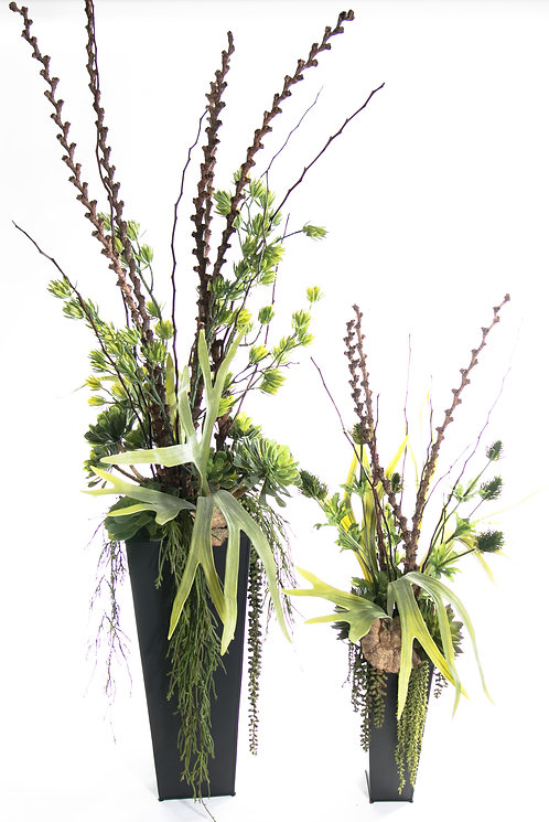 2693 Set of 2 Mixed Greens and Branches in Zinc