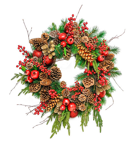 """2909 24"""" POMMEGRANATE AND PINECONE WREATH"""