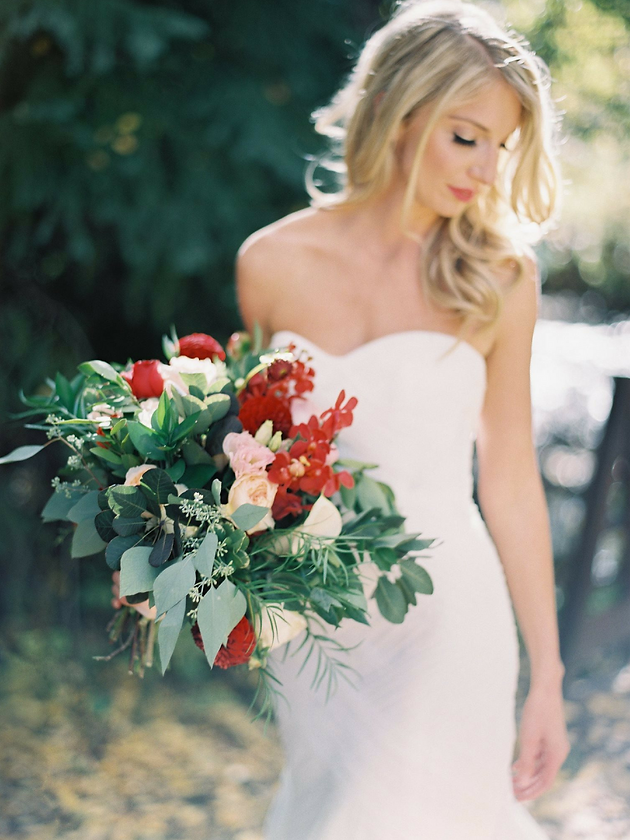 Natural red and peach wedding bouquet with garden roses, dahlias and mokara orchids