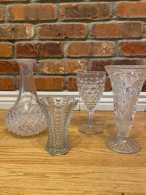 Assorted  Cut Vintage Glass set of 10