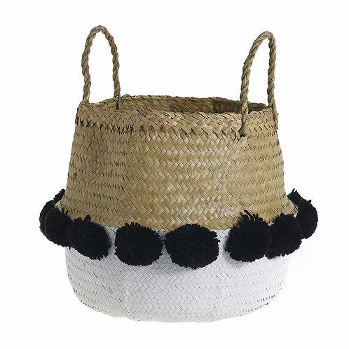 White Pom Pom Basket