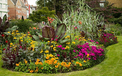 Colorful Flower Bed in Park with Red Aby