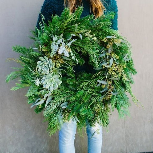 Natural Wreath with Succulents