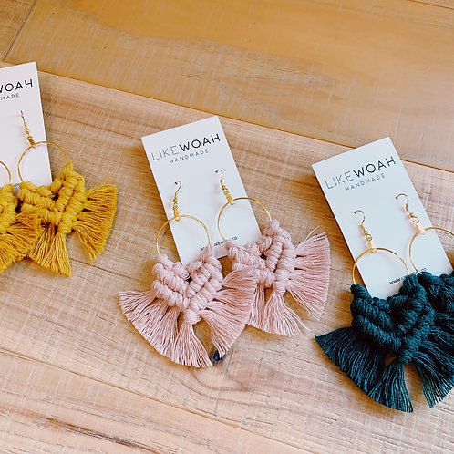 Mustard Macrame Earrings - 100% Recylced Material