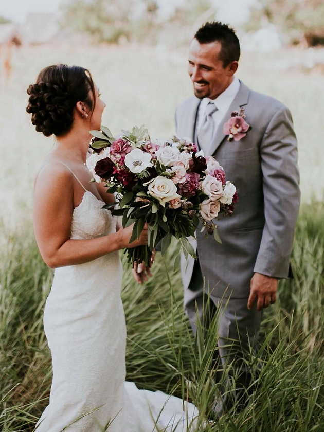 Marsala wedding bouquet with anemones, roses and carnations