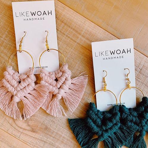 Pink Macrame Earrings - 100% Recycled Material