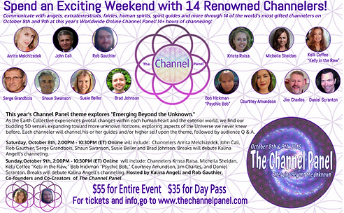 Channel Panel Emerging Beyond The Unknown. Krista Raiisa, Jim Charles, John Cali, Serge Grandbouis, Rob Gauthier, Daniel Scranton, Brad Johnson, Channeling Events, Channeler, Shaun Swanson,