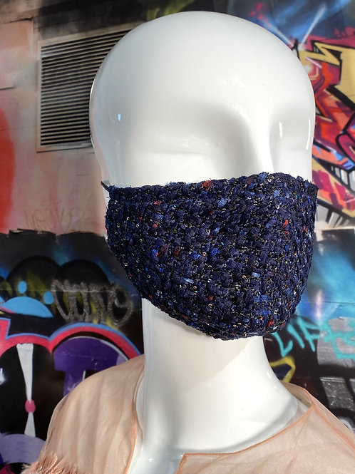 Sequined Navy Tweed Curved