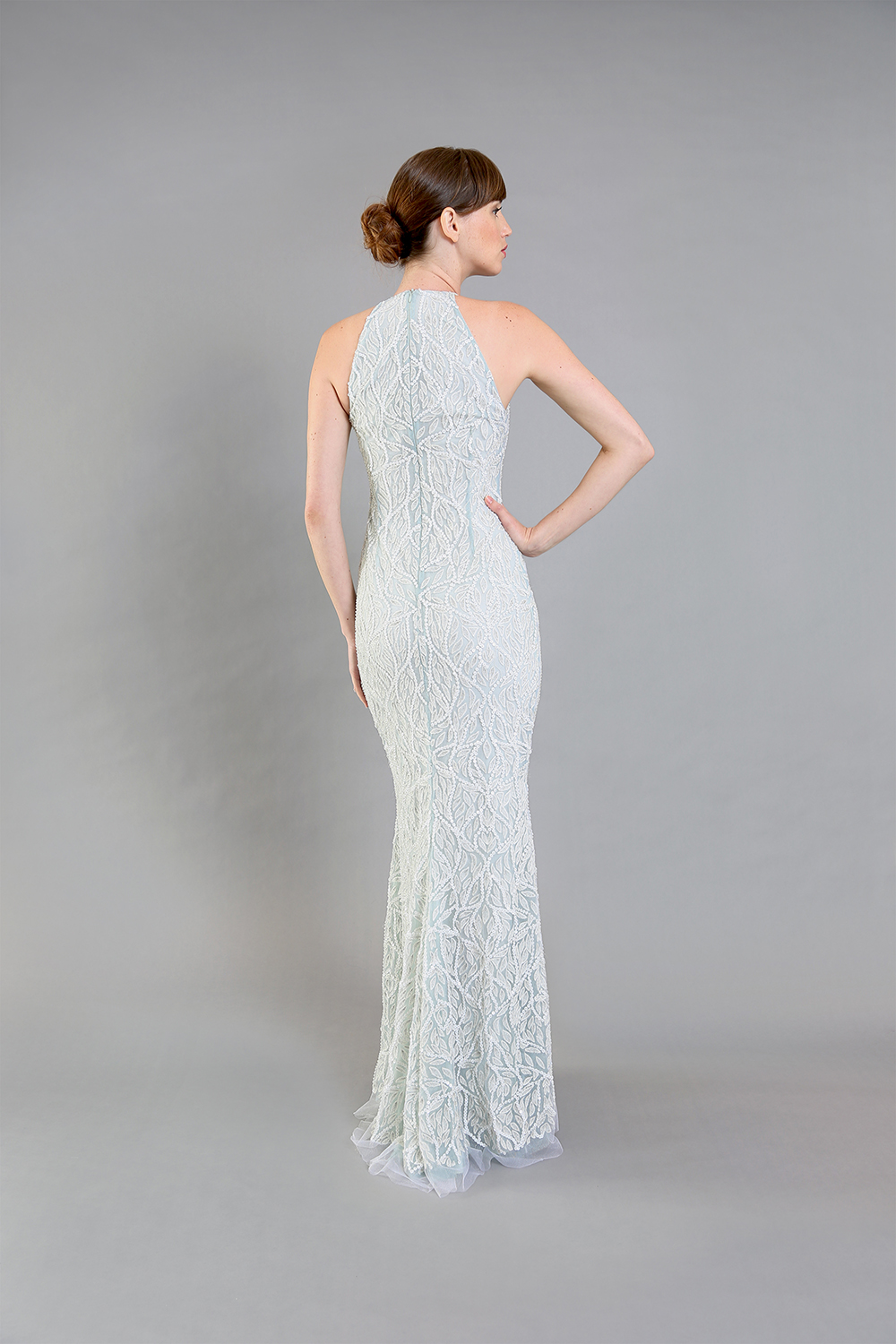 Sylvia Seafoam Beaded Gown-back