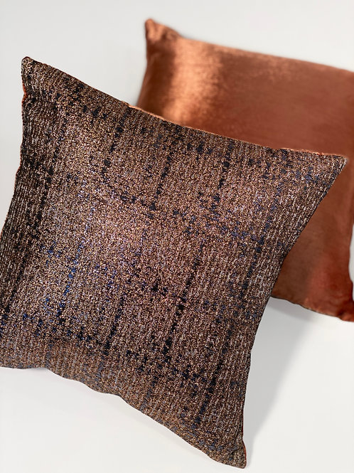 Couture Small Square Copper Plaid Penne Pillow