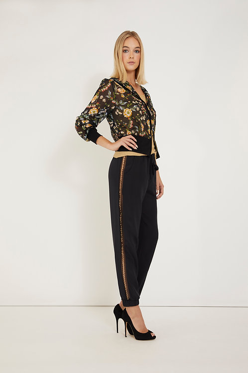 Black Silk Pant with Gold Rings Embellishments