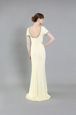Jackie Yellow Beaded Gown-back