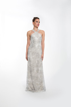 PHOEBE SILVER V NECKBAND GOWN