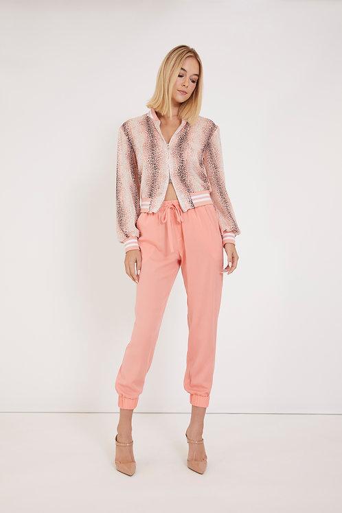 Pink Leopard Baseball Jacket