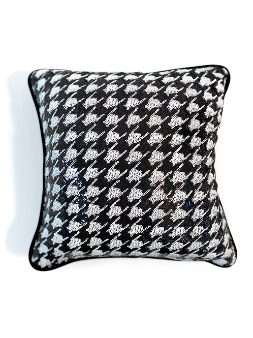 Couture Square Sequin Houndstooth Pillow