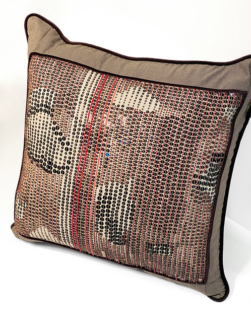 Couture Square Pink Brown Beaded Pillow