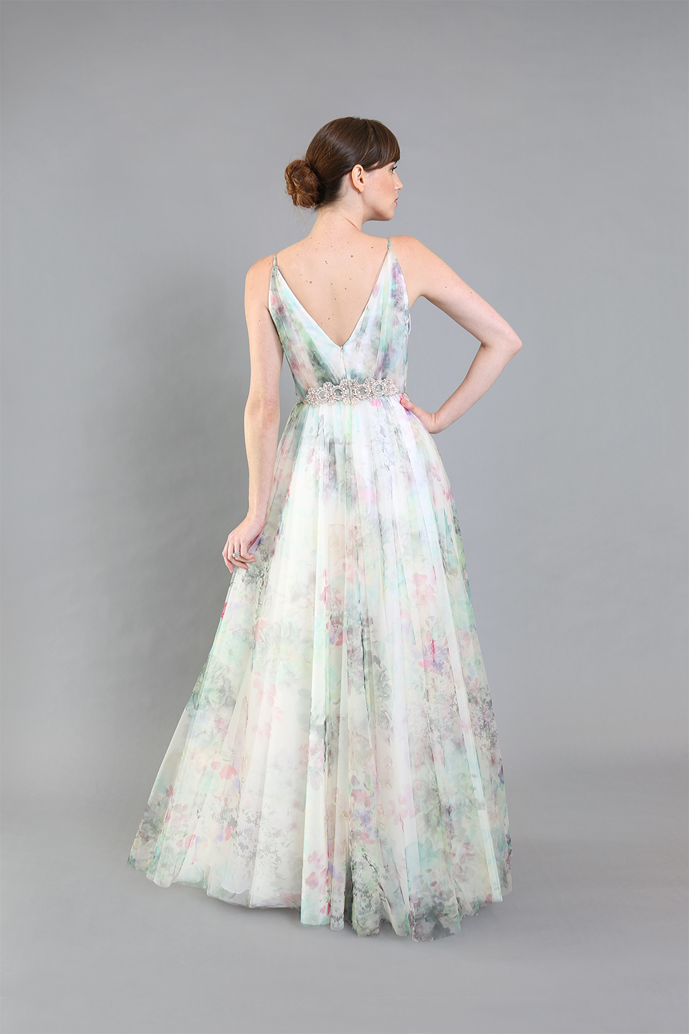 Andrea Floral Printed Tulle Gown