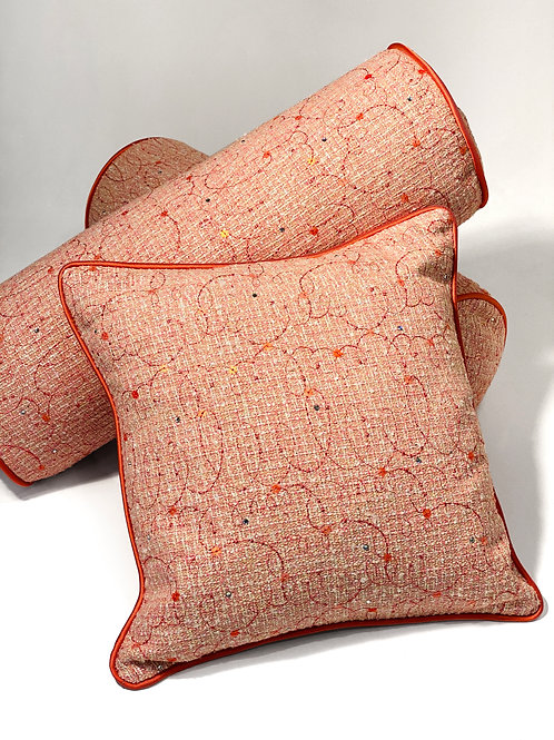 Couture Tweed Peach Embroidered Square Pillow