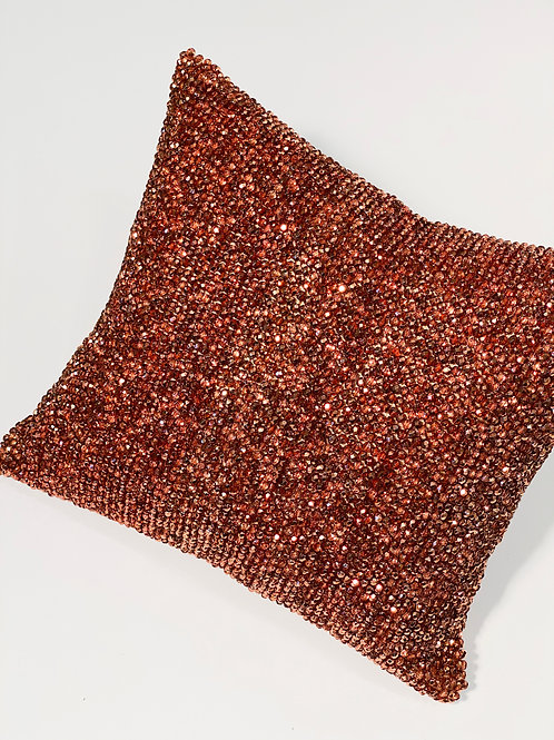 Couture Small Swarowski Copper Crystal Beaded Pillow