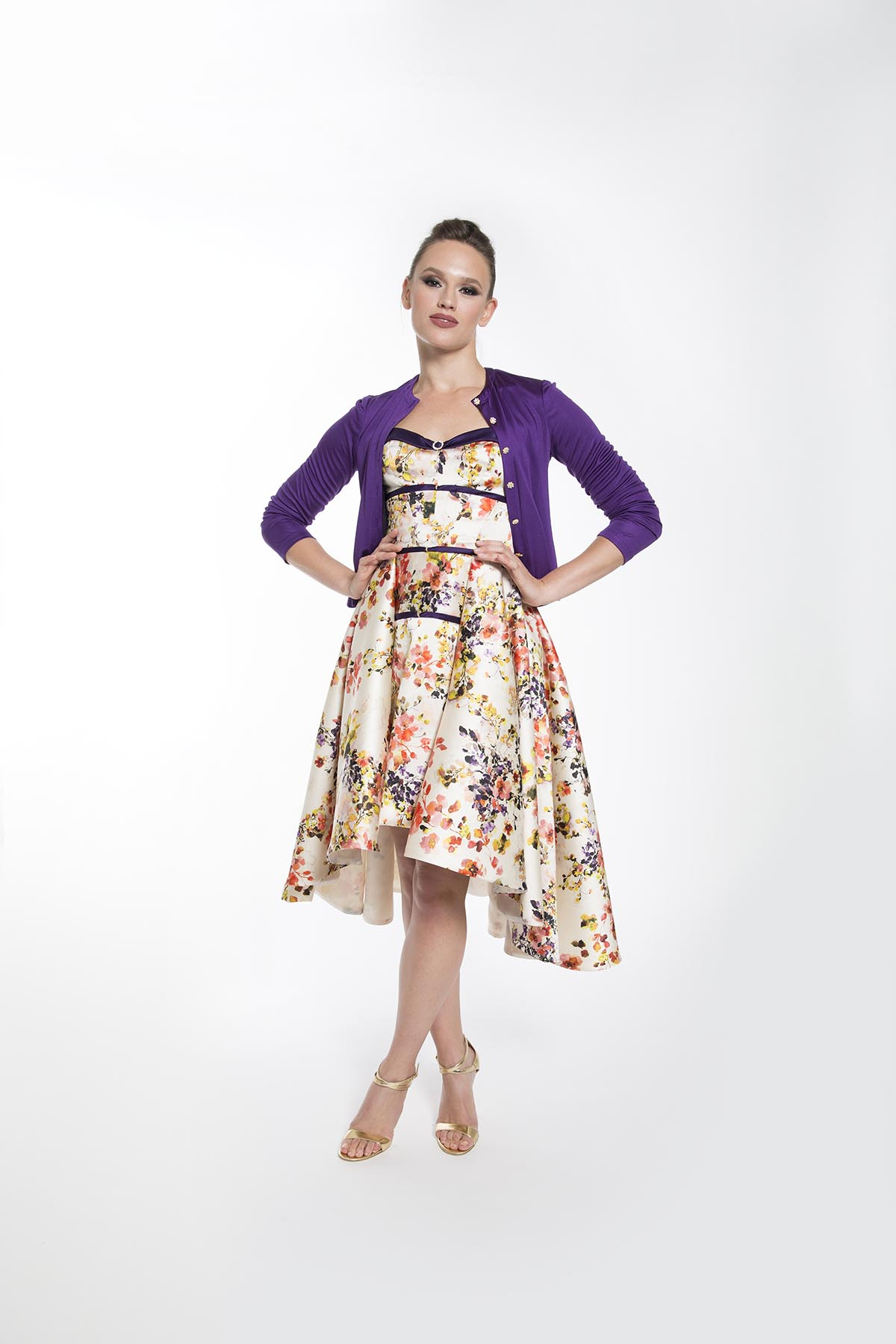 PAULETTE FLORAL COCKTAIL DRESS w Cardigan