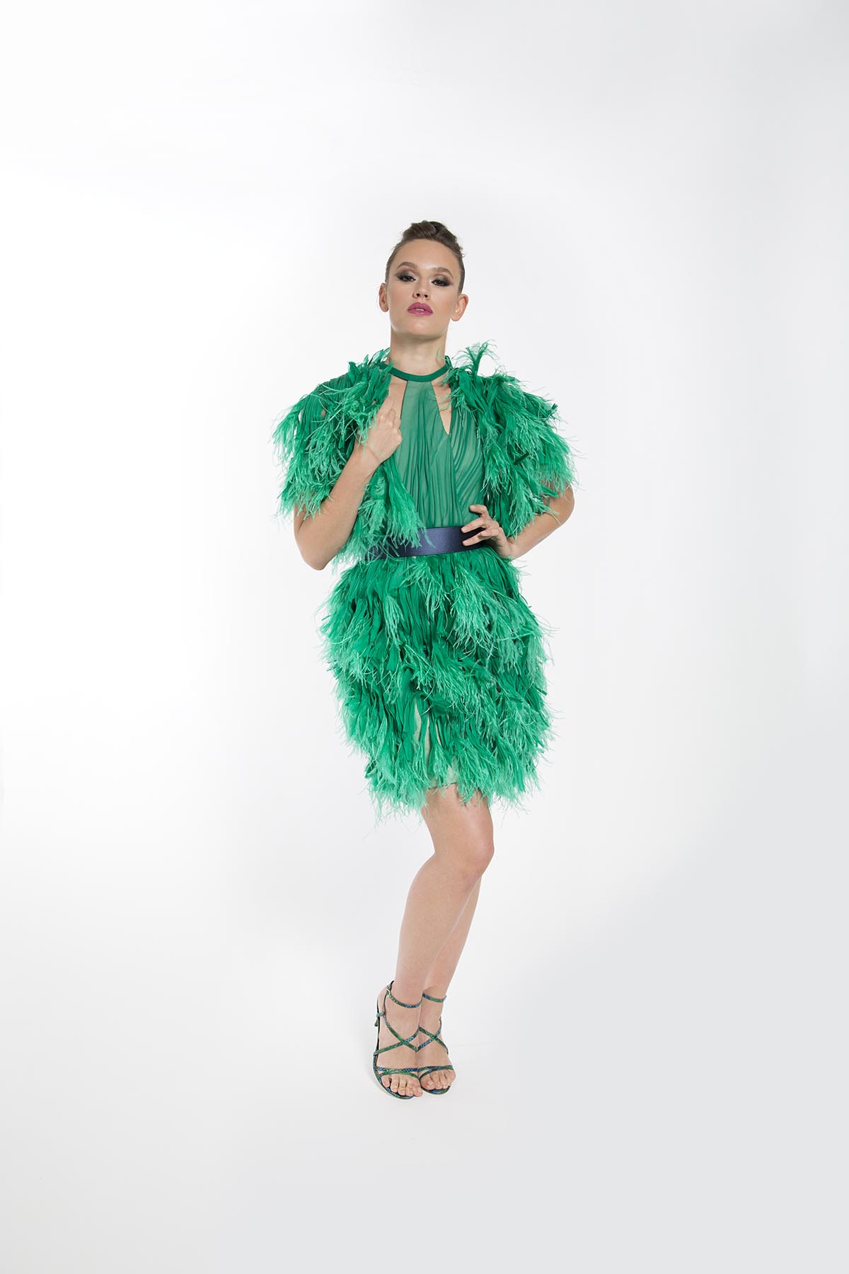 IRIS GREEN FEATHERED COCKTAIL DRESS BOLARO