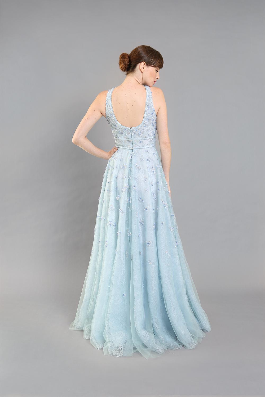 Jill Beaded Lace Tank Gown-back