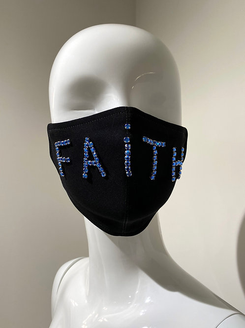 """Faith"" Embroidered Black Mask Curved"