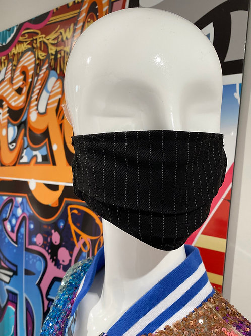 Traditional Pinstripe Pleated Mask
