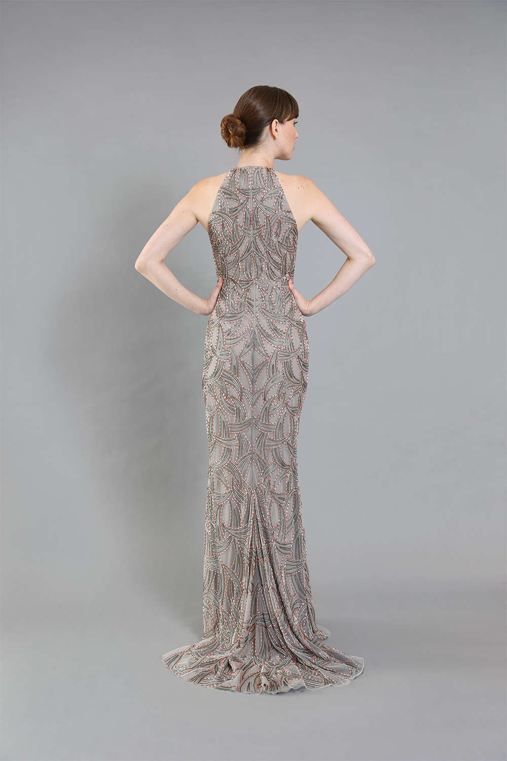 Sylvia Geranium Beaded Gown-front