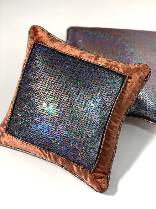 Couture Small Square Copper Blue Sequin Pillow