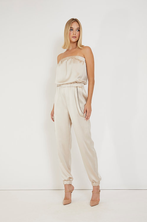 Silk Strapless Jumpsuit with a Cargo Pocket