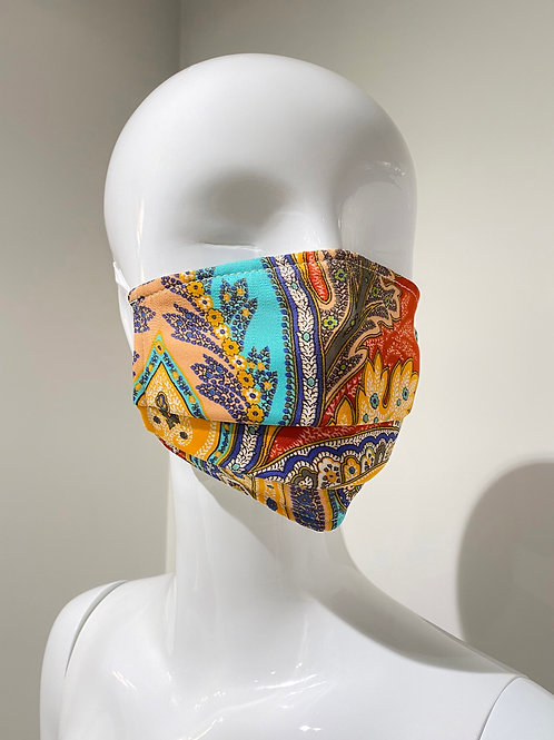 Paisley Print Pleated Face Mask
