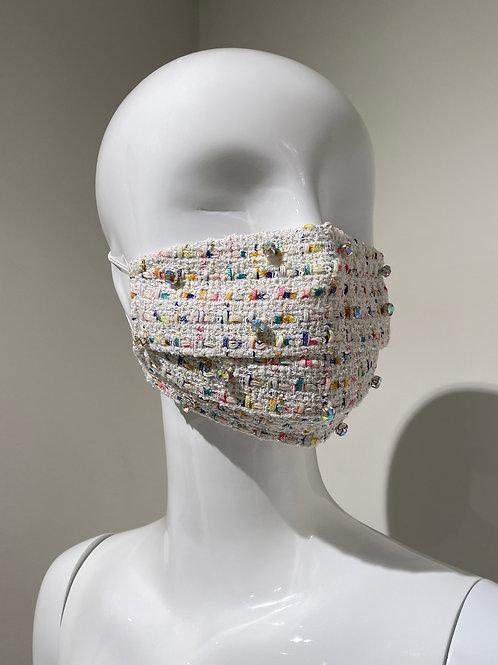 Confetti Embroidered Pleated Tweed Mask