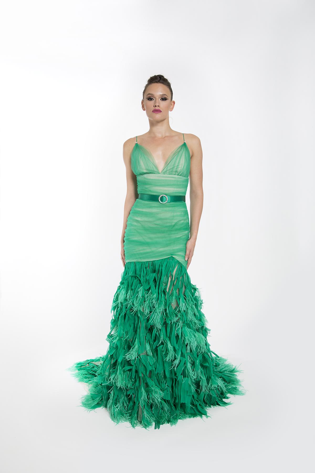 IRIS GREEN FEATHERED GOWN