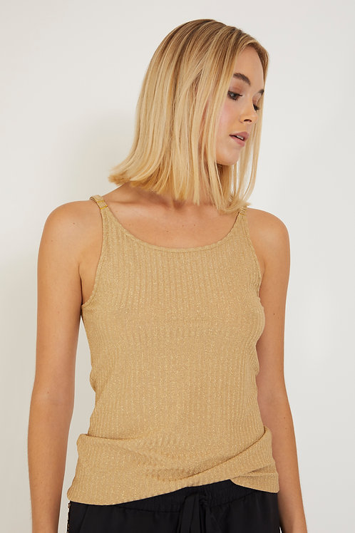 Ribbed Tank Top with Adjustable Straps