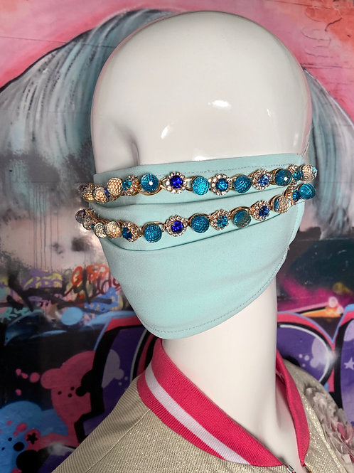 Topaz Blue Chain Embroidered Mask