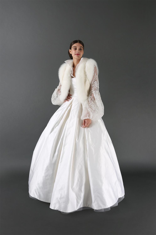Tatiana Gown Ensemble with Fur Vest