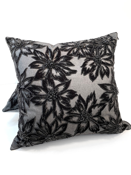 Couture Large Square Black Flower Beaded Pillow