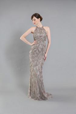 Sylvia Geranium Beaded Gown-front