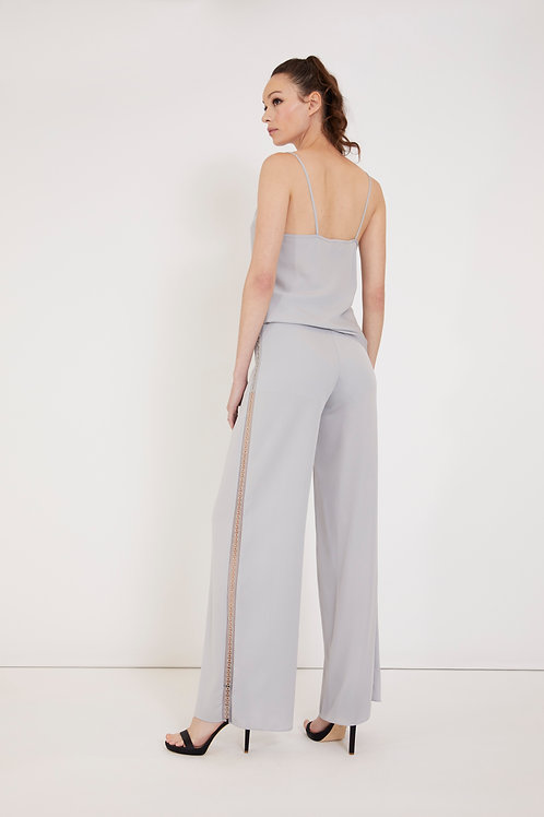 Silk Pant with Embellished Side Strip