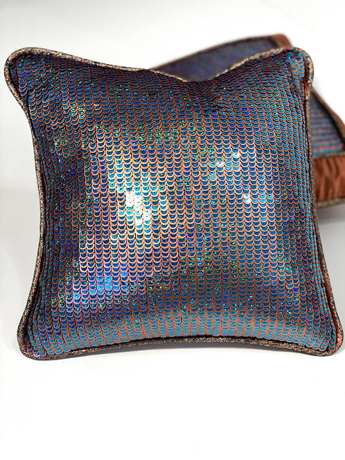 Couture Small Square Copper Blue All Over Sequin Pillow
