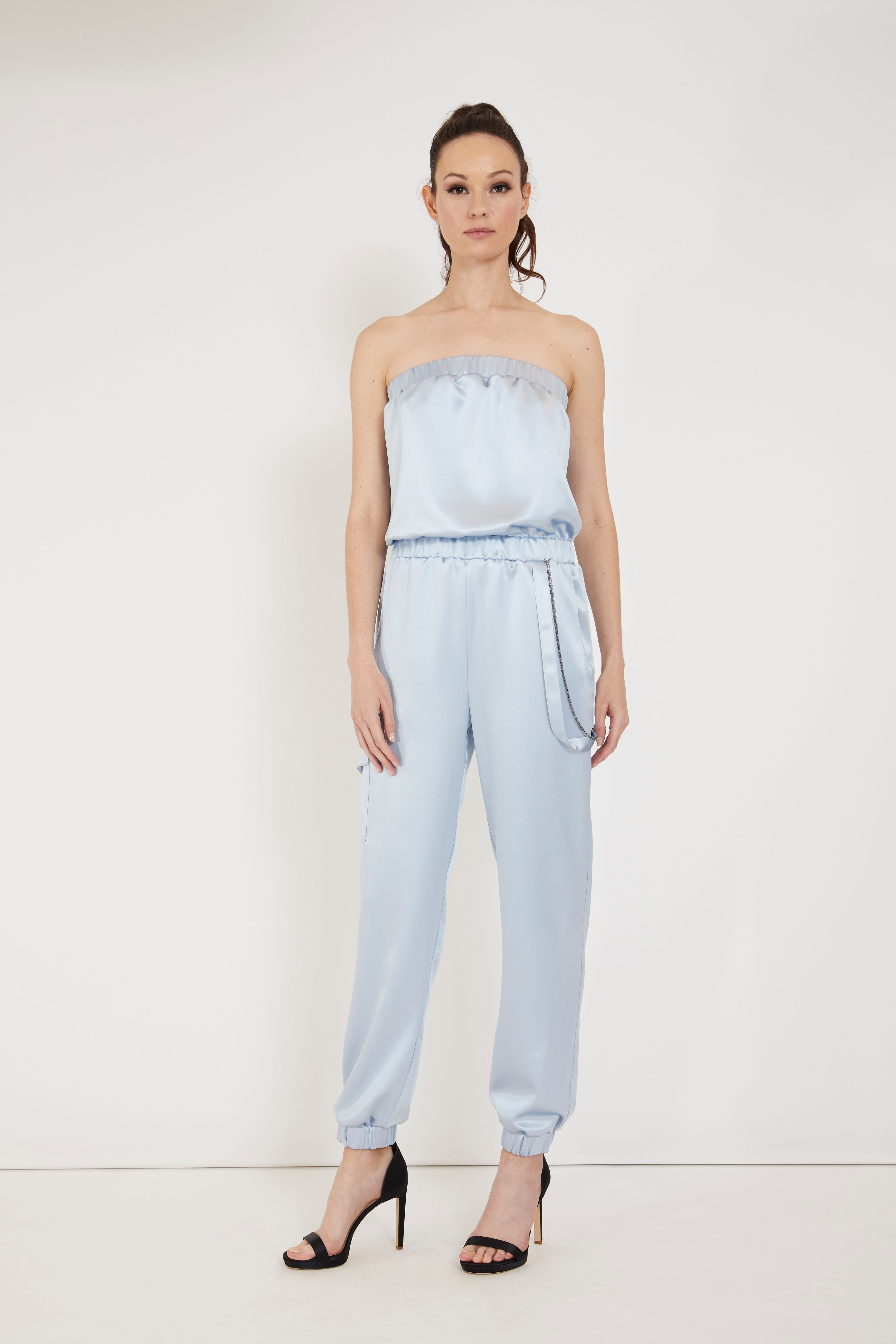 At-Leisure Silk Jumpsuit - Baby Blue