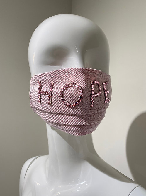 """Hope"" Embroidered Mask Pleated"