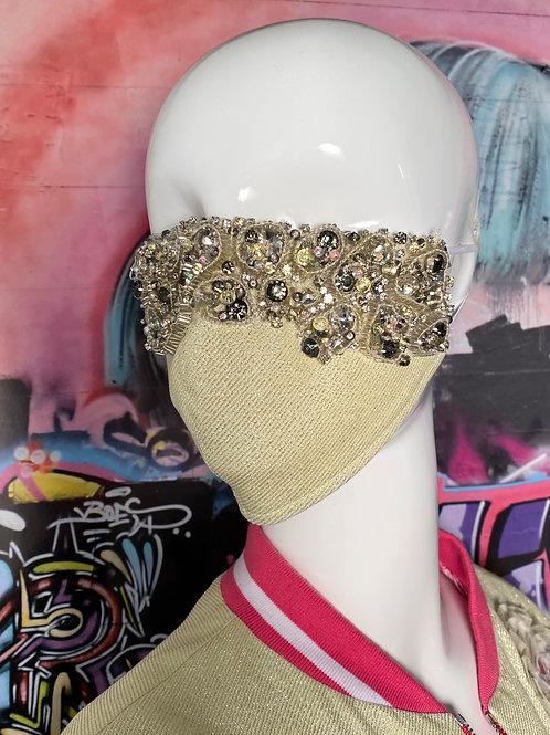 3D Modern Geo Beaded Lurex Mask